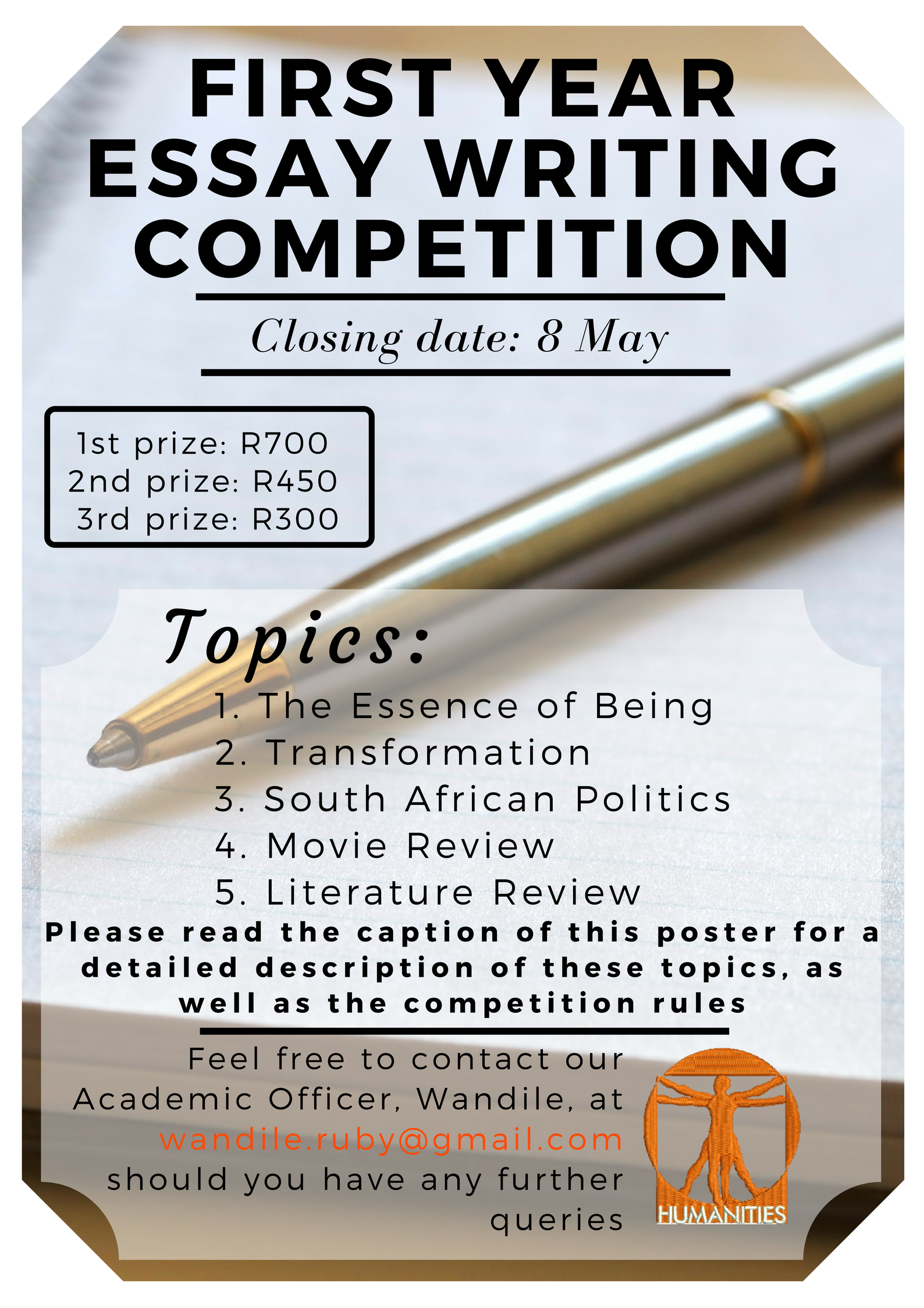 english literature essay competitions The berkeley prize competition was established in 1998, made possible by a generous gift of judith lee stronach to the department of architecture in the college of environmental design at the university of california, berkeley.