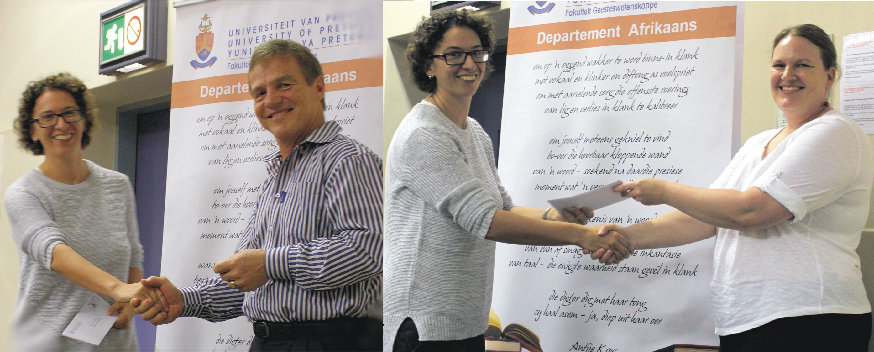 Anneli Groenewald receives the Marius Jooste prize and the NB-Uigewers bursary