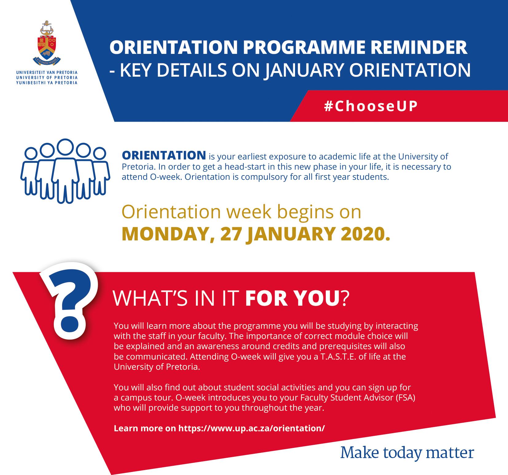 Orientation University Of Pretoria
