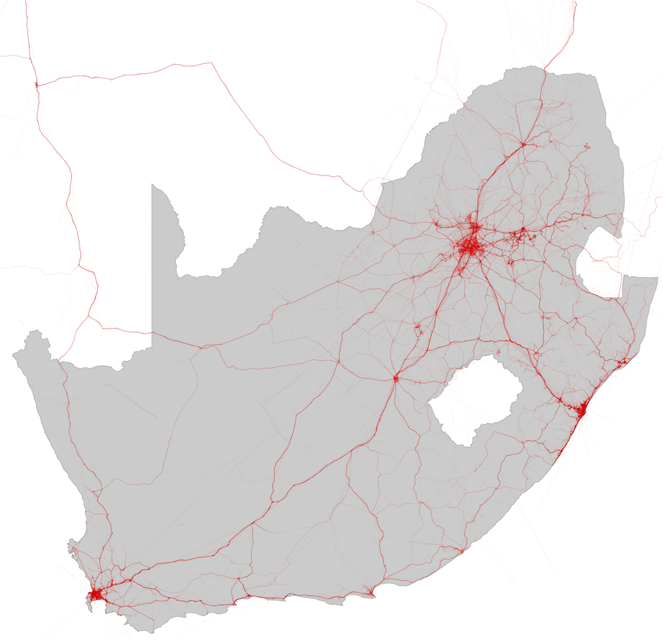 A single day's GPS traces of commercial vehicles across South Africa.